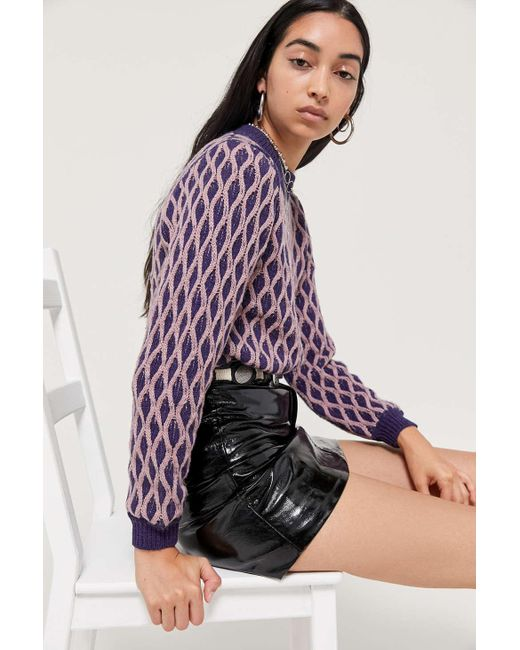 Urban Outfitters Purple Uo Diana Two-tone Cable Knit Sweater