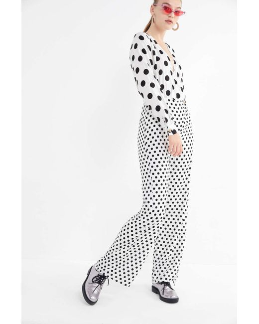 7cc61ad56355 Urban Outfitters - Multicolor Uo Mixed Polka Dot Surplice Jumpsuit - Lyst  ...