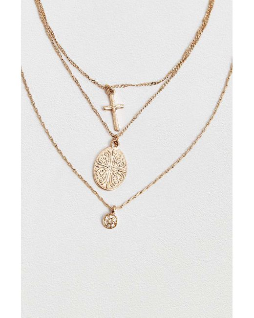 Urban Outfitters - Metallic Delicate Cross Sovereign Layering Necklace - Womens All - Lyst
