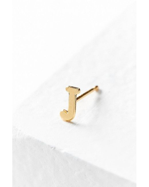 Urban Outfitters   Metallic 18k Gold + Sterling Silver Initial Post Earring   Lyst