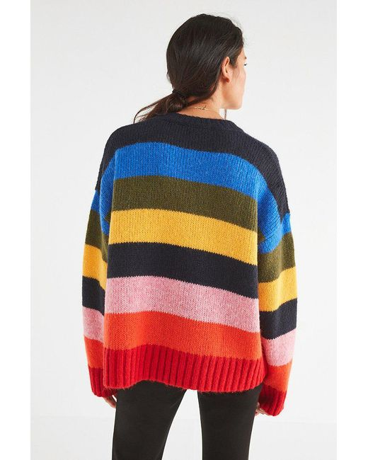 Urban Outfitters , Red Uo Kari Oversized Striped Sweater , Lyst