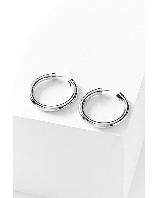 Urban Outfitters | Metallic Chunky Hollow Hoop Earring | Lyst