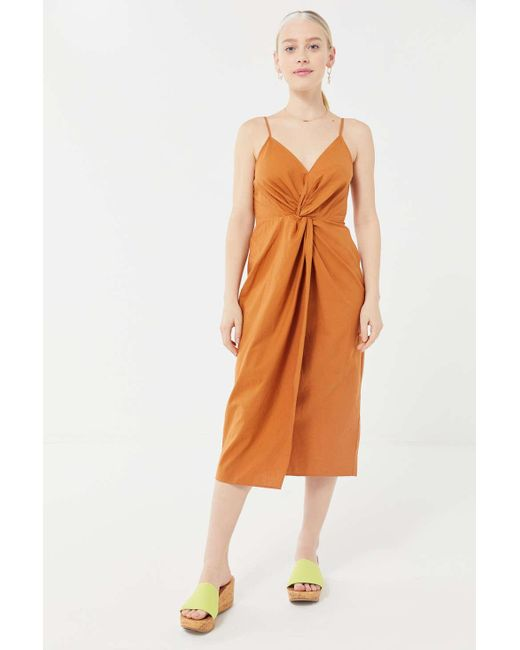 ca53a72358b Urban Outfitters - Brown Uo Rocky Twist-front Midi Dress - Lyst ...