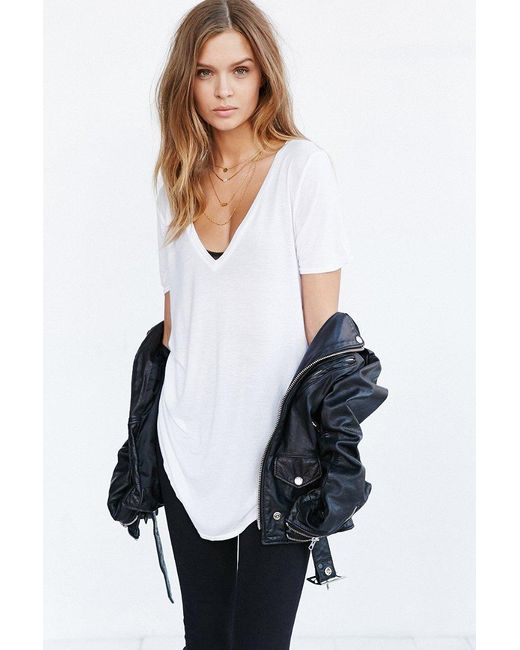 Truly Madly Deeply | White Deep-v Tee | Lyst