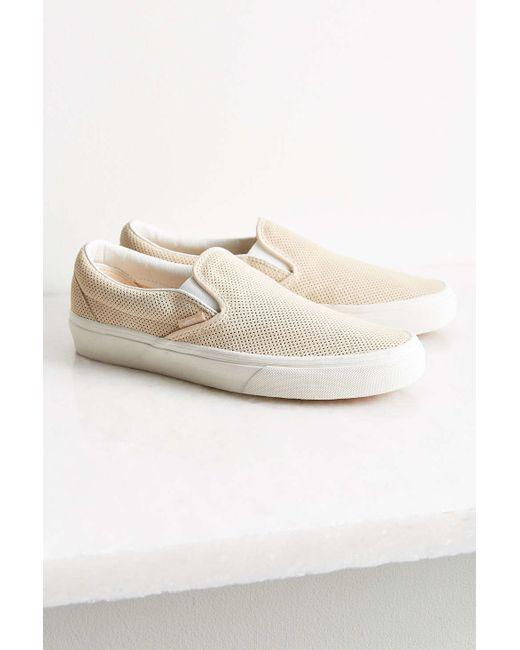 Vans Perforated Suede Slip-on Sneaker in Beige (TAN)