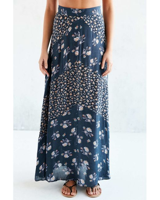 kimchi blue mitered floral maxi skirt in blue navy