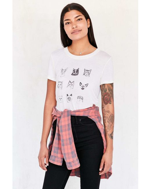 Truly madly deeply cat breeds tee in black lyst for Lucky cat shirt urban outfitters
