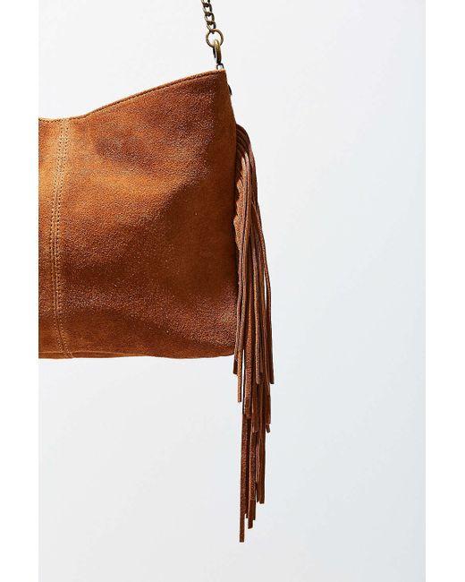 ecote suede fringe shoulder bag in brown save 44 lyst