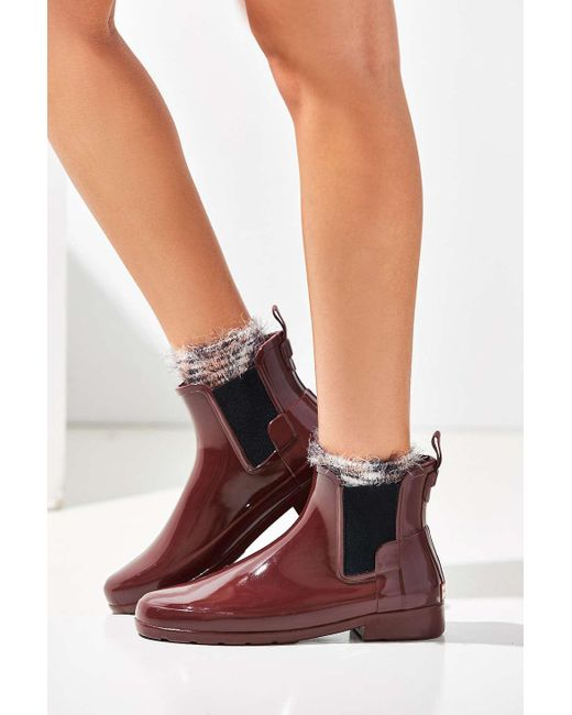 Hunter Original Refined Chelsea Gloss Rain Boots In Red