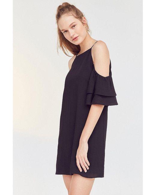 Cooperative Black Ruffle Cold-shoulder Linen Dress