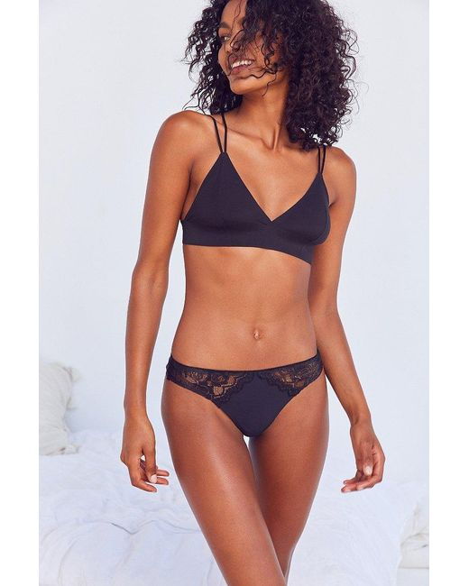 Urban Outfitters | Black Scalloped Edge Fused Thong | Lyst