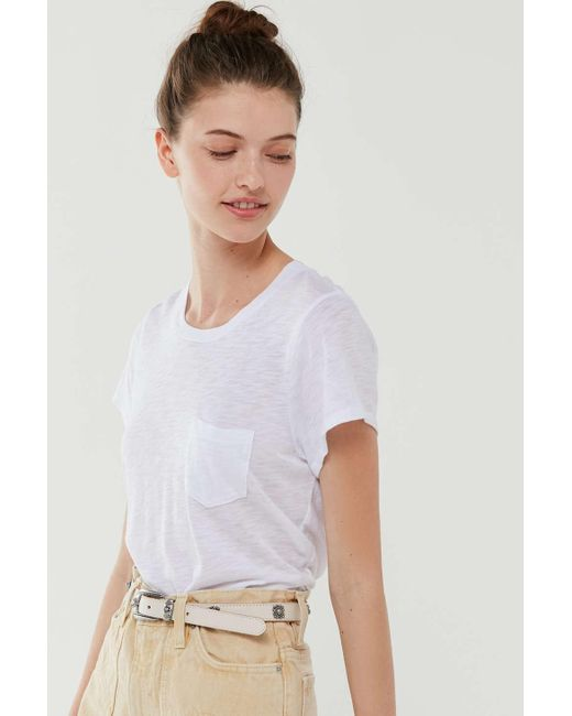 Truly Madly Deeply White Crew Neck Pocket Tunic Tee