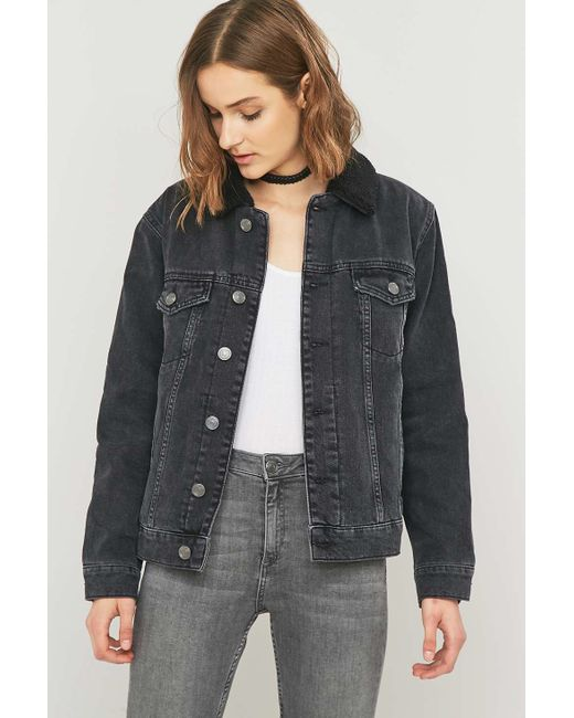 BDG | Oversized Western Sherpa Black Denim Jacket | Lyst