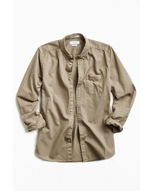 Urban outfitters stevens khaki heavy twill button down for Heavy button down shirts