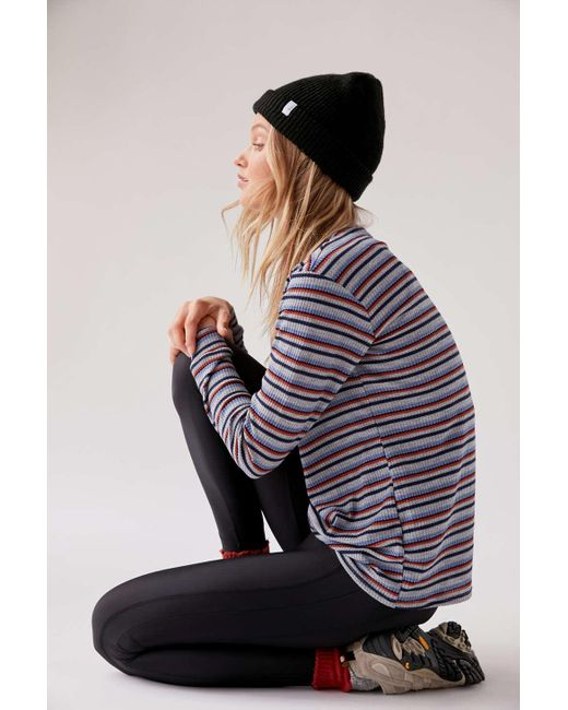 Project Social T Blue Striped Thermal Tunic Top