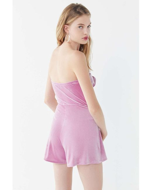 a87a7b061f3 ... Urban Outfitters - Pink Uo Maddie Velvet Tie-front Romper - Lyst ...