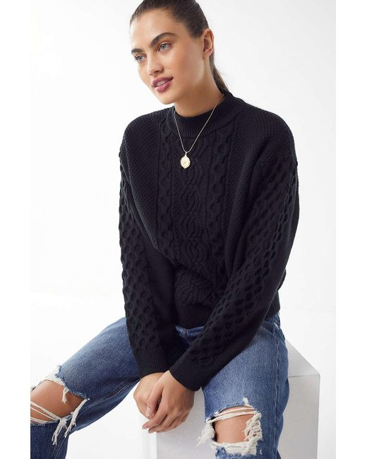 Urban Outfitters - Black Uo Austin Mock-neck Cable Knit Sweater - Lyst
