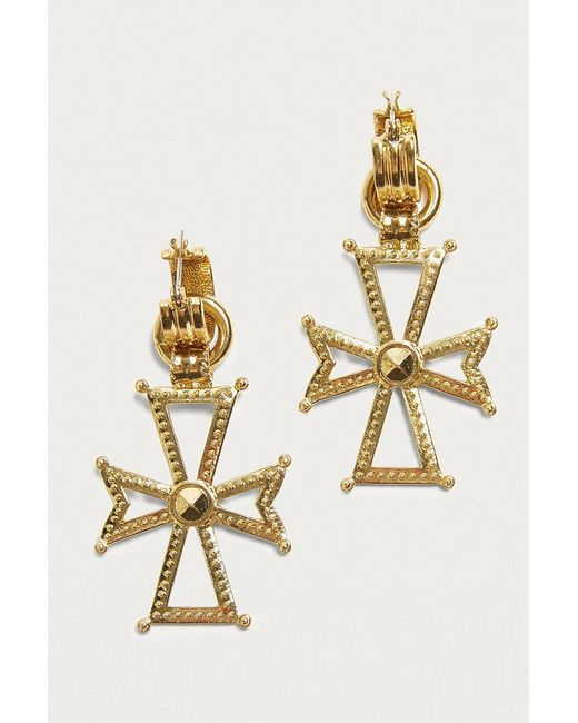 Luv Aj | Metallic Mattan Cross Hoop Earrings | Lyst