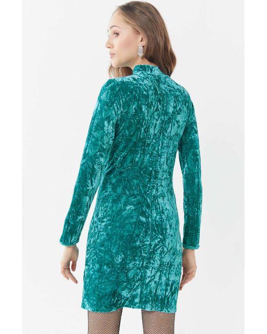 30e9bfa99ebd ... Urban Outfitters - Blue Uo Ice Crusher Velvet Mock-neck Mini Dress -  Lyst ...