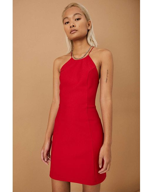 Urban Outfitters Red Uo Temi Ponte Halter Mini Dress