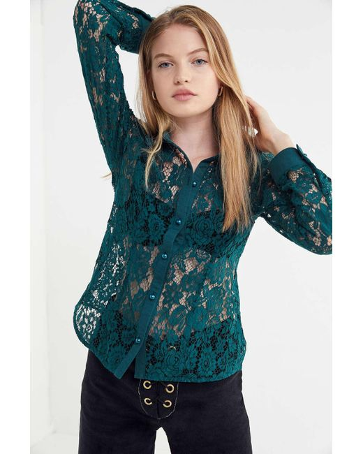 652a7adc2 ... Urban Outfitters - Blue Uo Lace Button-down Shirt - Lyst ...