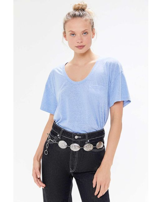 Truly Madly Deeply Blue Scoop Neck Pocket Tunic Tee
