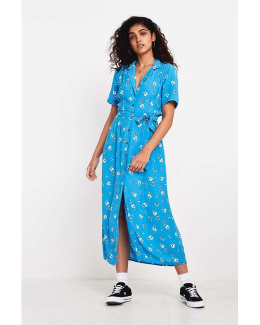 Urban Outfitters - Blue Uo Victoria Floral Shirt Dress - Lyst ... d55413ea1