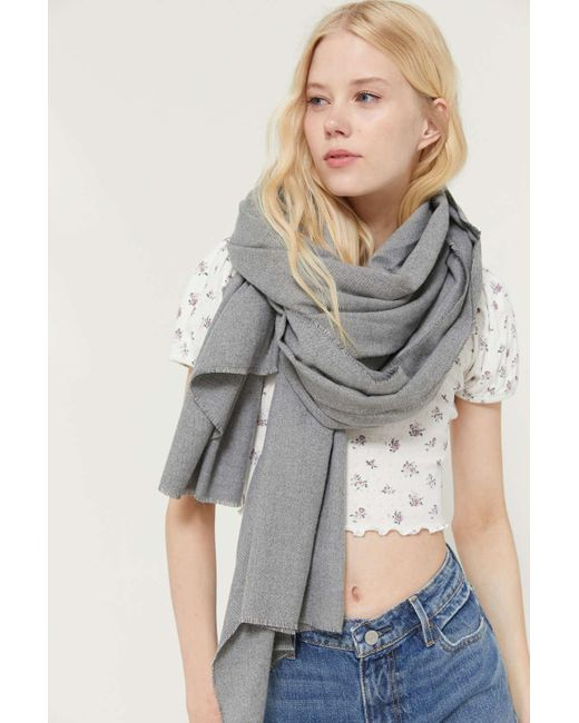 Urban Outfitters Gray Uo Basic Woven Blanket Scarf