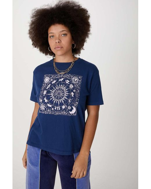 Urban Outfitters Blue Uo Navy Sun Memories Boyfriend T-shirt