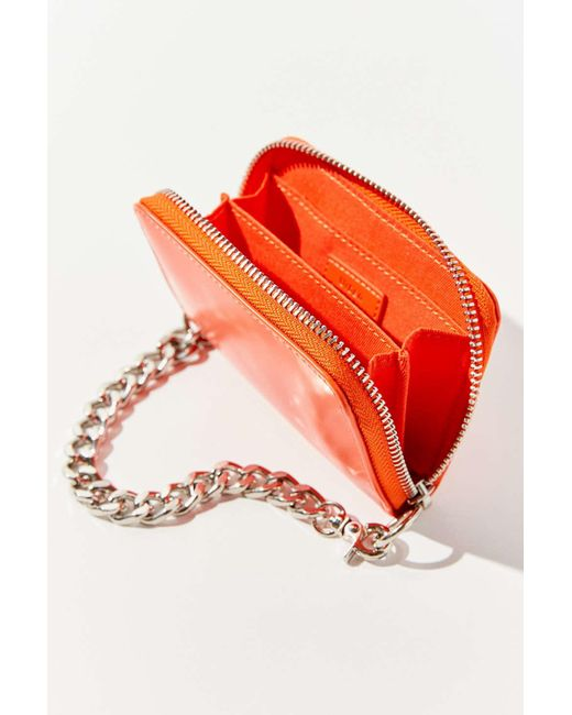 Urban Outfitters Orange Faux Leather Chain Wallet