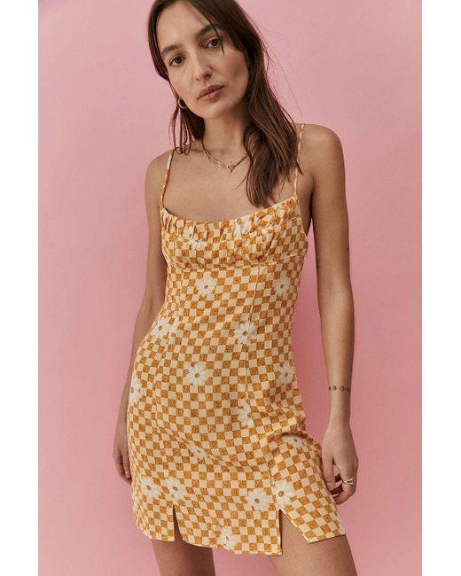 Urban Outfitters Orange Uo Lumi Daisy Check Print Mini Dress
