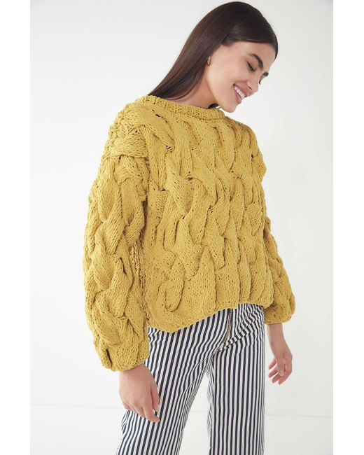 a1461a946647 ... Urban Outfitters - Yellow Uo Hand Knit Cable Pullover Sweater - Lyst ...