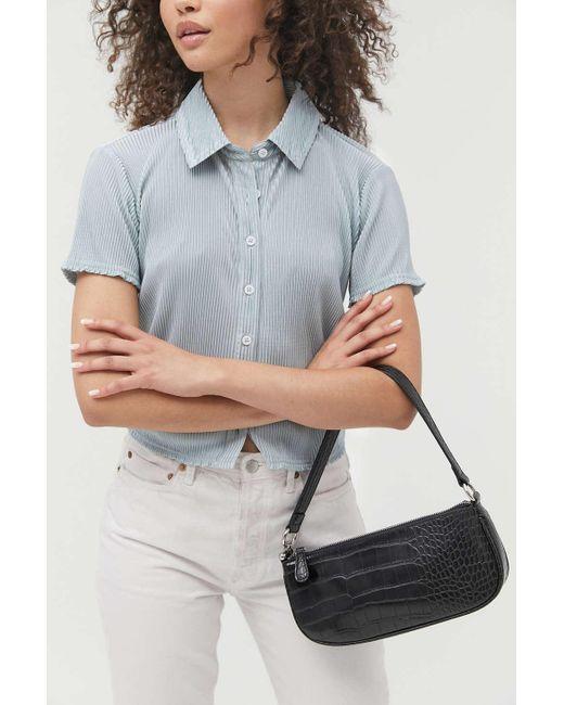 Urban Outfitters Black Uo Croc Baguette Bag