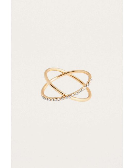Urban Outfitters - Metallic Ditsy Gold Rhinestone Ring - Lyst