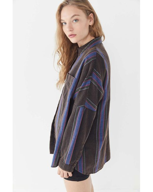 6c3300ae ... Urban Outfitters - Blue Uo Striped Twill Button-down Shirt - Lyst ...