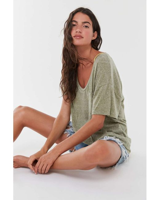 Truly Madly Deeply Multicolor Scoop Neck Pocket Tunic Tee