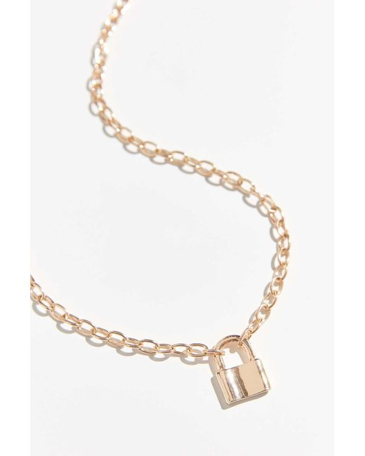 Urban Outfitters Metallic Padlock Chain Necklace