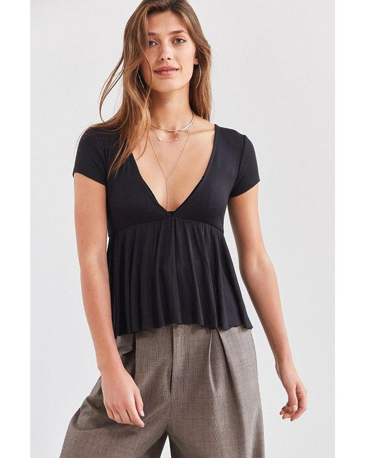 Urban Outfitters | Black Uo Clementine Plunging Babydoll Top | Lyst