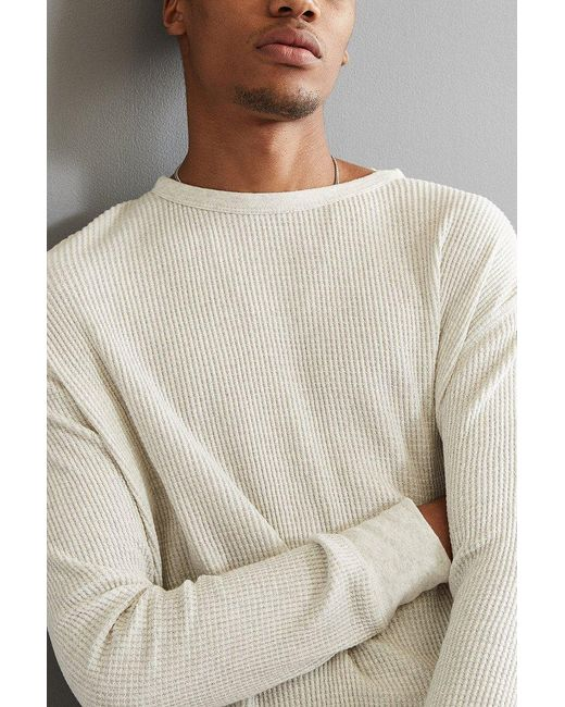 Urban Outfitters   Natural Uo Waffle Thermal Crew Long Sleeve Tee for Men   Lyst