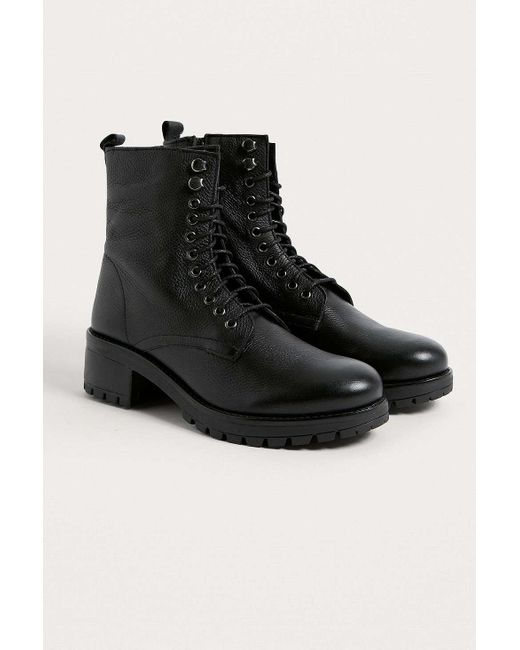 Urban Outfitters - Black Uo Zoe Leather Combat Boots - Lyst