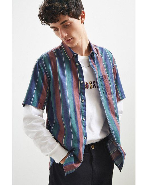 Urban Outfitters - Blue Uo '90s Stripe Short Sleeve Button-down Shirt for Men - Lyst