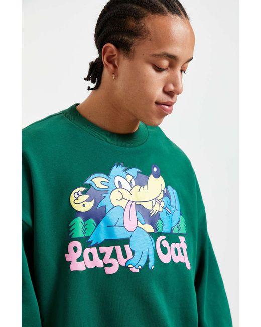 Lazy Oaf Green Lazy Wolf Crew Neck Sweatshirt for men