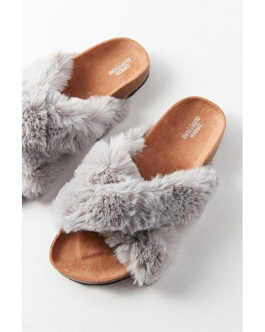 Urban Outfitters | Gray Crossed Faux Fur Slide | Lyst