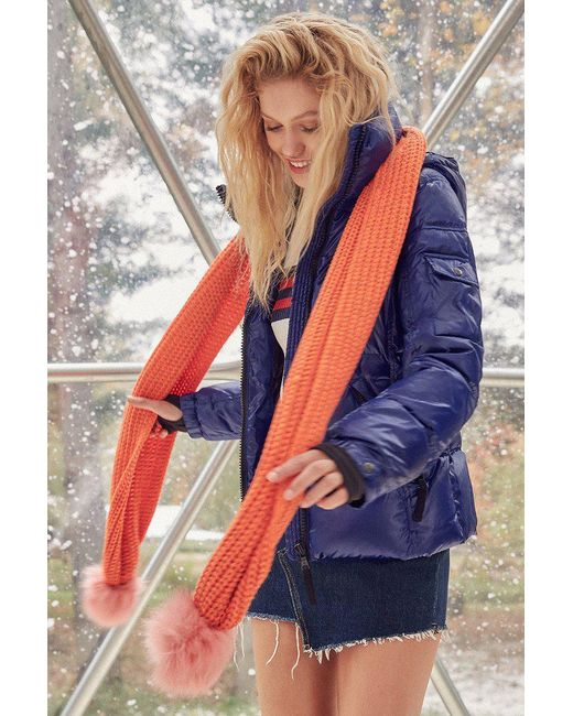 Urban Outfitters | Orange Colorblocked Pompom Scarf | Lyst