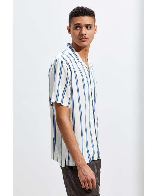4a506d478 ... Urban Outfitters - White Uo Sport Striped Rayon Short Sleeve Button-down  Shirt for Men ...