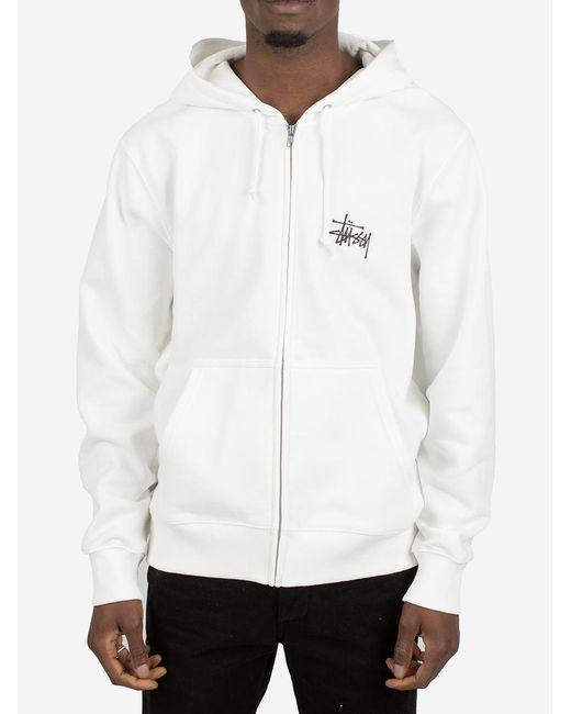 Stussy White Felpa Basic Zip Hood for men