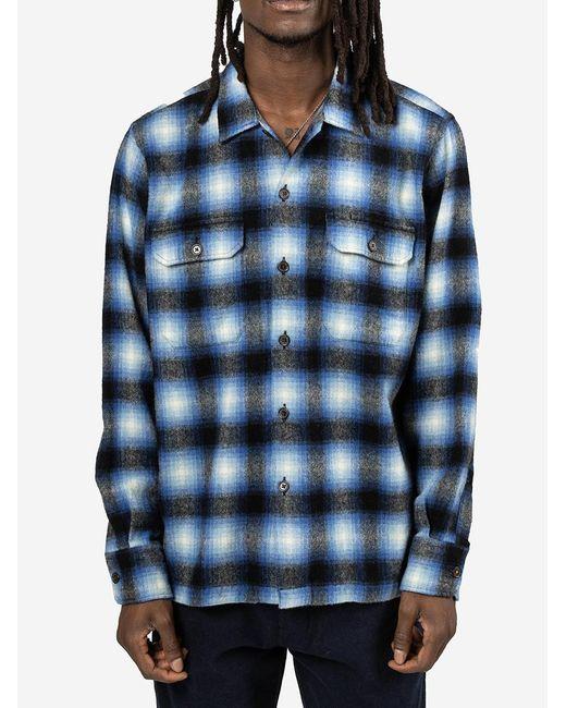 Camicia Utility Wool Plaid di Universal Works in Blue da Uomo