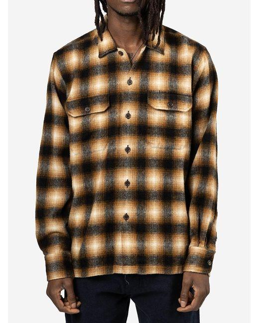 Camicia Utility Wool Plaid di Universal Works in Brown da Uomo