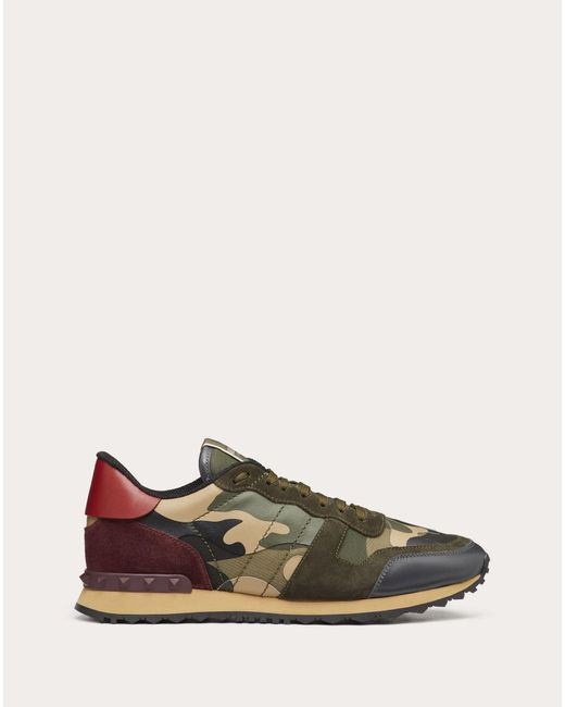 Valentino Green Garavani Rockrunner Suede, Leather And Canvas Sneakers for men