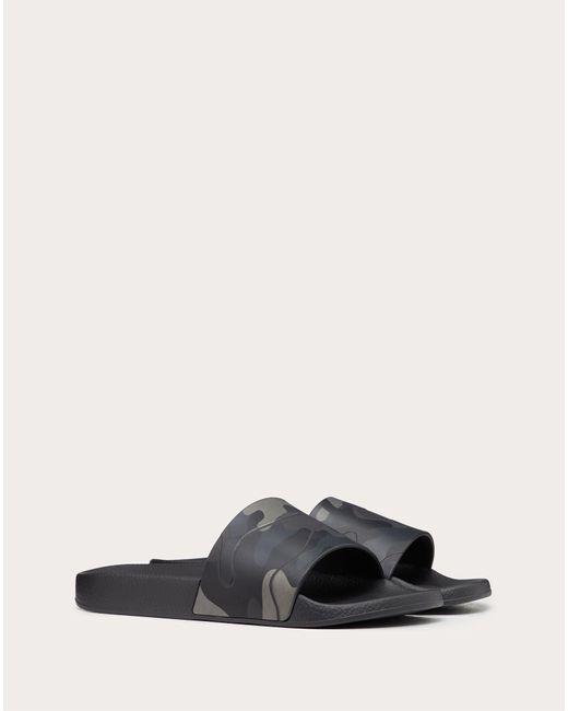 Valentino Garavani Black Camouflage-print Rubber Slider Sandals for men